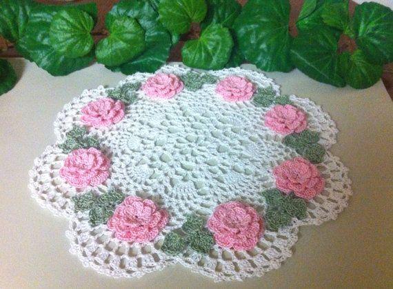 NEW Pink  roses crochet doily to order choose by CrochetJust4U
