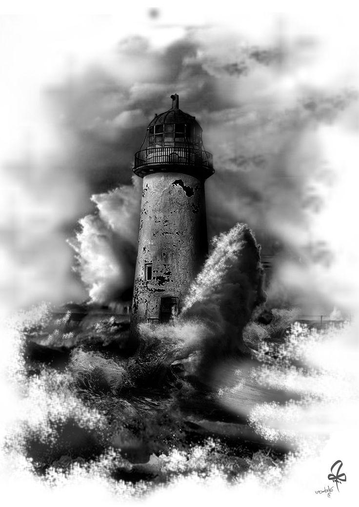 Photoshop, Tattoo, lighthouse, Blach & White, Waves, Sea, Burtscher N.