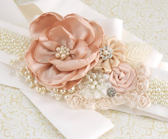 Bridal Sash- Wedding Sash in Blush Pink and Ivory with Silk Satin, Crystal Jewels and Pearls- Pearl Heaven via Etsy