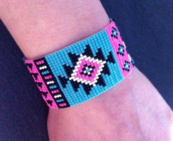 Aztec bead loom Cuff Bracelet Black Neon door TDFTheDreamFactory
