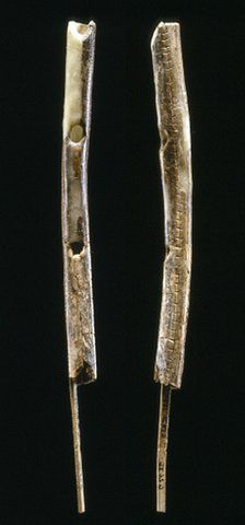 Mammoth ivory flute dated from 42 to 43,000 years old, found in the Geissenkloesterle Cave in Germany.