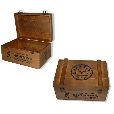 old wooden box joint boxes | BROWNING DISTRESSED WOOD AMMO BOX