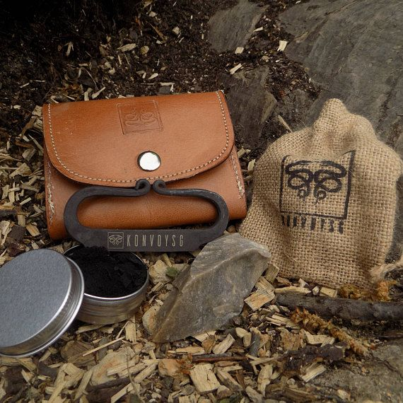 Strong Carbon Steel English Flint and Charcloth Fire Starter Kit