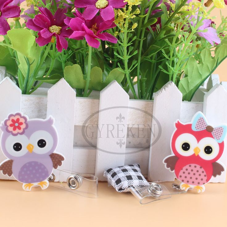Washi Nurse Retractable Pull Key ID Card Clip ID Badge Cute Owl Name Tag Card Holder Reel For School Office Company