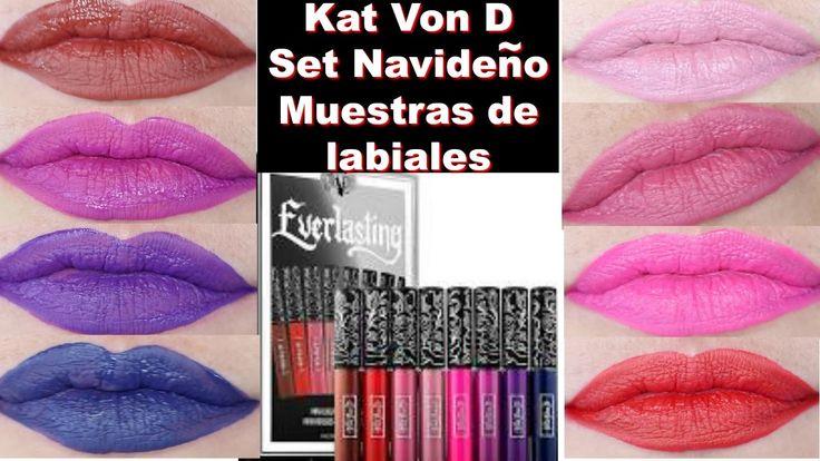 Muestras de Labiales   Kat Von D Mini Liquid Lipstick Set Navideño - YouTube