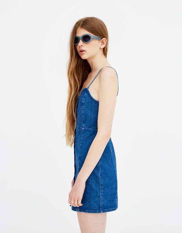 6a4b2dc9e6 Strappy denim dress - Dresses - Clothing - Woman - PULL BEAR United Kingdom