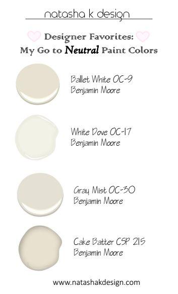 My GO TO Neutral Paint Colors! www.natashakdesign.com