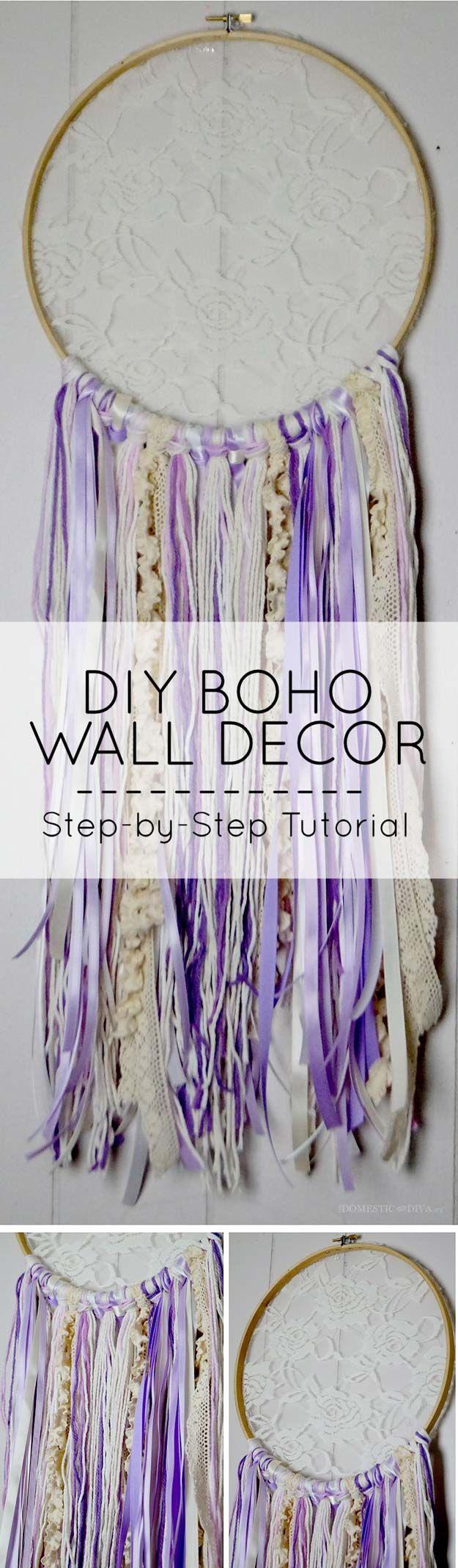DIY Purple Room Decor - DIY Boho decoración de la pared - Mejores Ideas dormitorio y Proyectos en púrpura - accesorios de moda, manualidades, arte de la pared, lámparas, alfombras, almohadas para adultos, adolescentes y Girls Room http://diyprojectsforteens.com/diy-room- decoración de color púrpura
