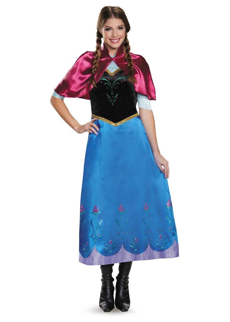 buy disney frozen anna traveling gown deluxe halloween costume adult plus size 18 disney frozen womens anna traveling gown deluxe halloween costume - Halloween Anna Costume