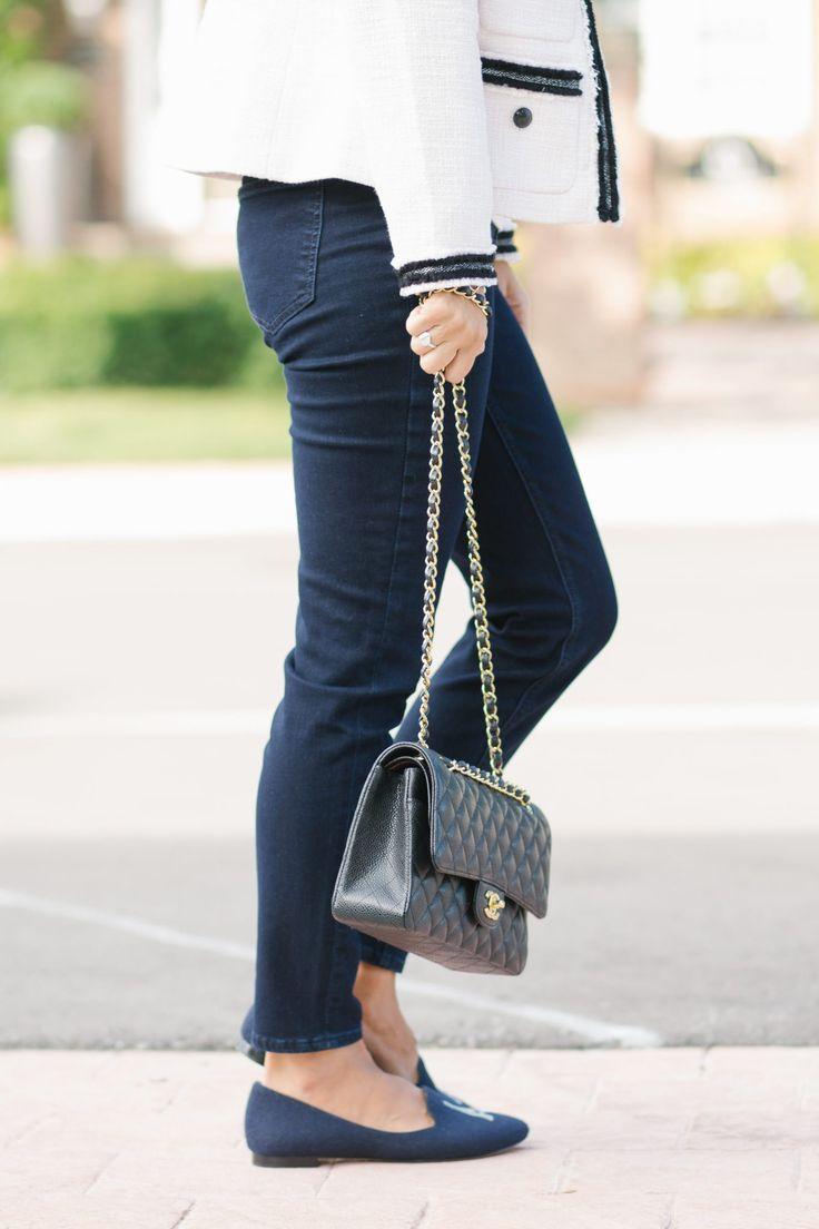 TalbotsRyan Embroidered Flats - Flannel/Eiffel Tower and Chanel medium flap bag sparkleshinylove