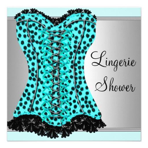 Teal Leopard Corset Lingerie Bridal Shower Personalized Invitation