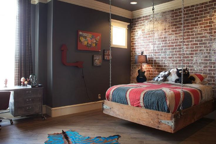 Bella Vici Interiors - boy's rooms - industrial, bedroom, boys bedroom, hanging bed, industrial bed, reclaimed bed, restoration hardware desk, british flag, faux brick wall, vintage sign,