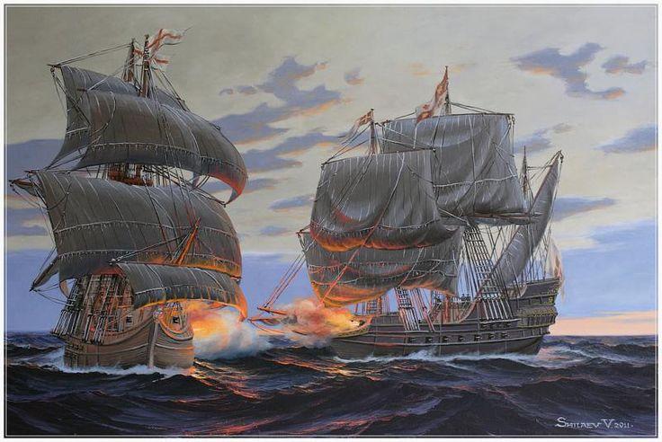 """""""Combate de galeón español contra barco inglés de piratas"""" Pintura de Valery Shilyaev"""