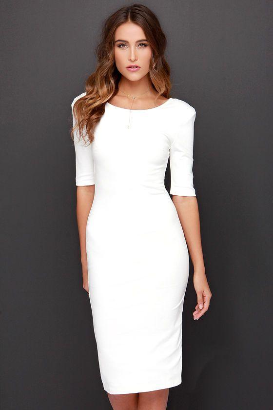 LULUS Exclusive We Built This Midi Ivory Midi Dress at Lulus.com!