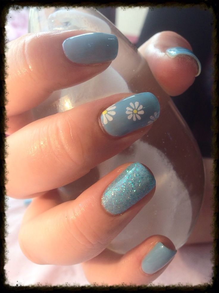 CND Shellac over natural nail with Daisy's and glitter. Light blue