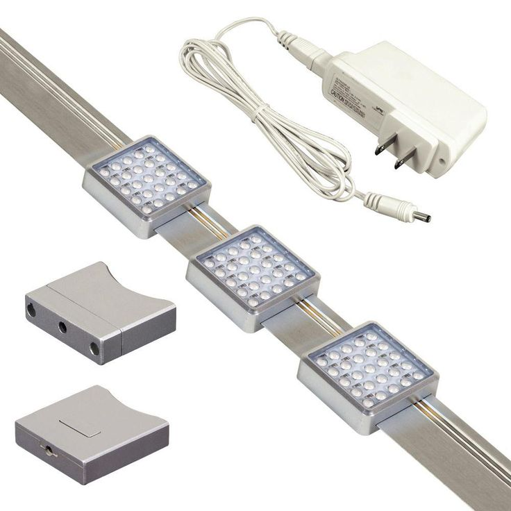JESCO Lighting Orionis 3 ft. Brushed Aluminum Track Kit with 3 Slidable LED Track Modules and Built-In Dimmer, Silver