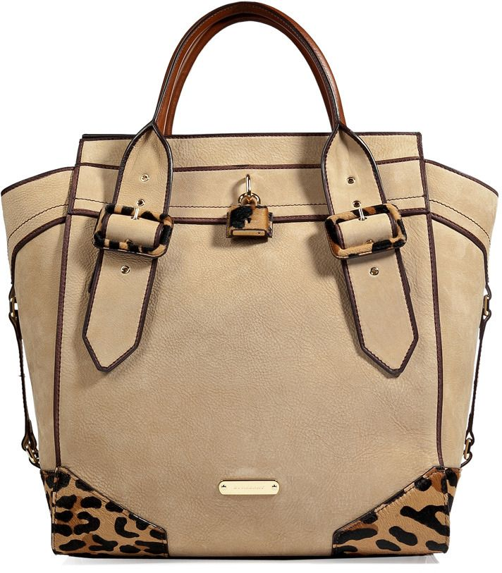 Burberry Leather/Haircalf Manor Tote in Honey