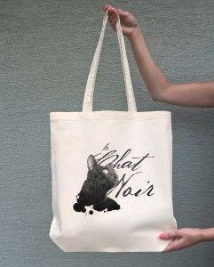 CHAT NOIR (torba bawełniana z długim uchem, kolor ecru) - tylko 19,50 PLN