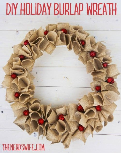 Holiday Burlap Wreath with glitter jingle bells