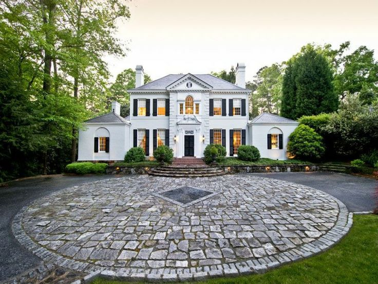 Tuxedo Park Dream Home Black ShuttersAtlanta HomesWhite