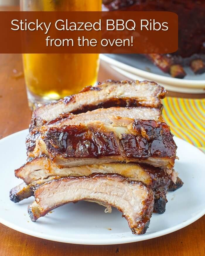 Honey Barbecue Ribs from the oven image with title text