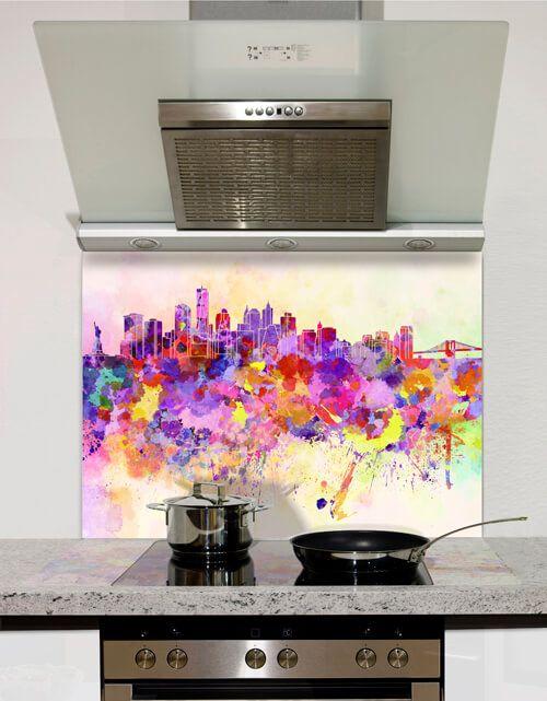 Watercolour New York Glass Splashbacks