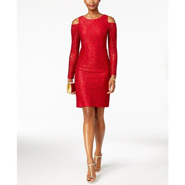 Alex Evenings Glitter Lace Cold-Shoulder Dress ($149) ❤ liked on Polyvore featuring dresses, red, red lace cocktail dress, cut out shoulder dress, cut-out shoulder dresses, cutout shoulder dresses and lace sheath dress