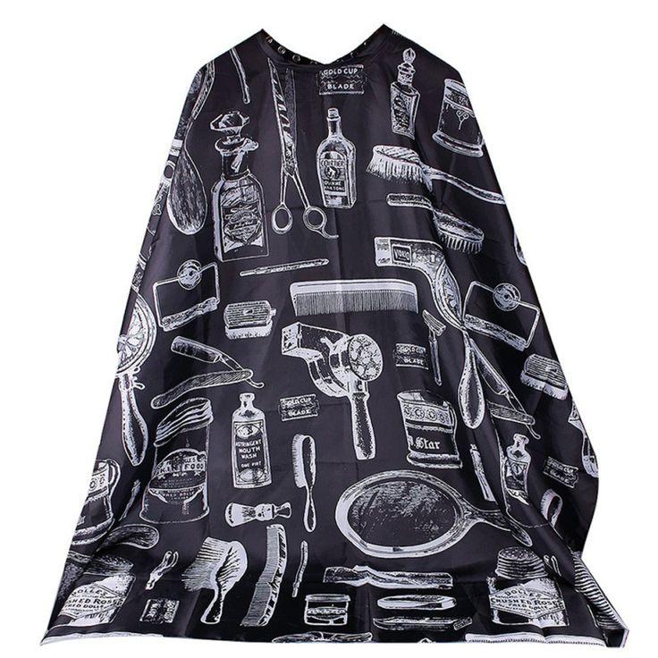 최고의 거래 새로운 좋은 품질의 미용사 앞치마 만화 패턴 절단 머리 방수 천 살롱 이발사 케이프 미용 1 개