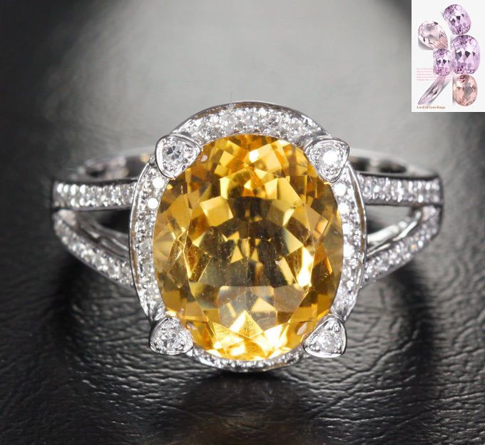 $628 Oval Citrine Engagement Ring Pave Diamond Halo 14K White Gold 10x12mm