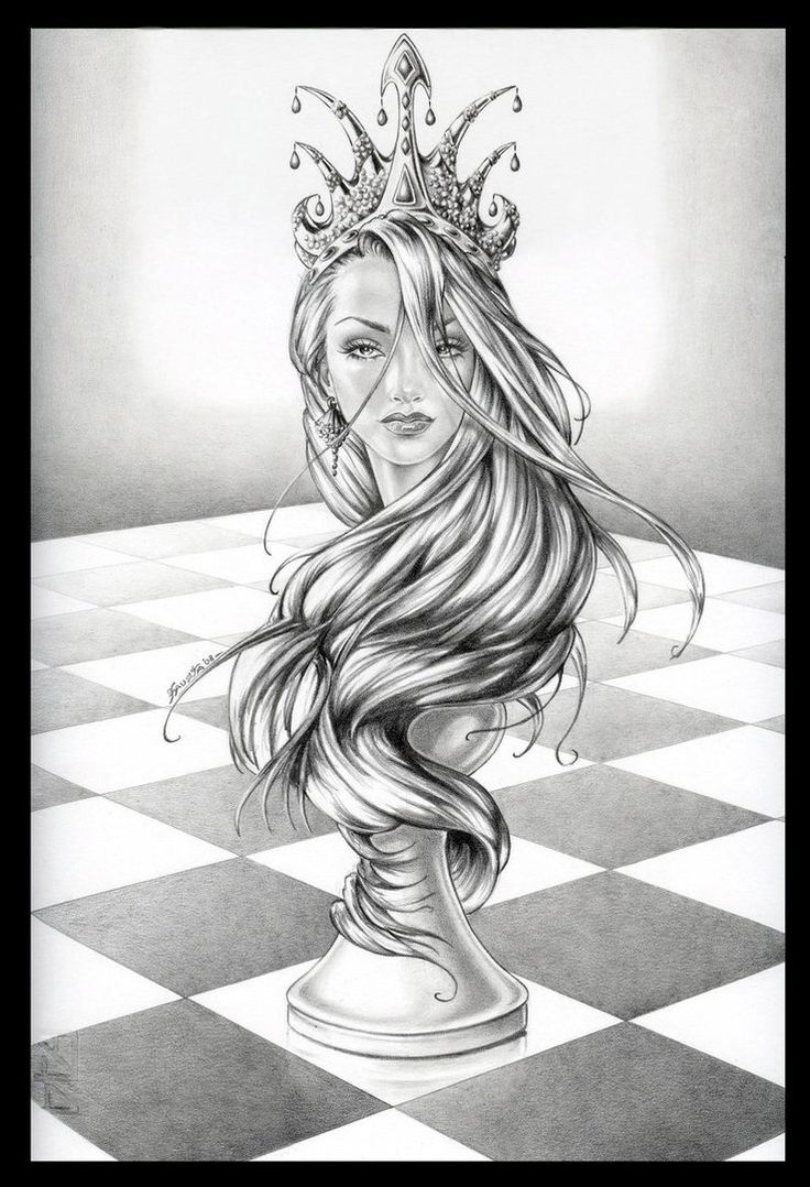 Queen Chess Piece Drawings  Google Search