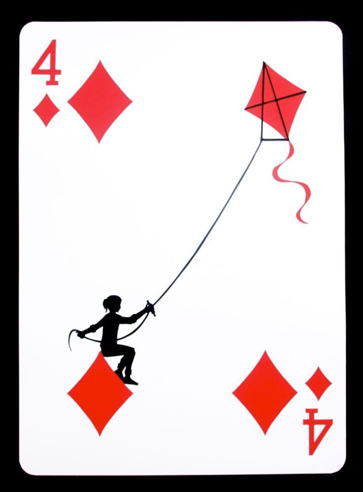 """The Four of Diamonds"", paper, 24"" x 17.125"", © 2011 Emmanuel Jose"
