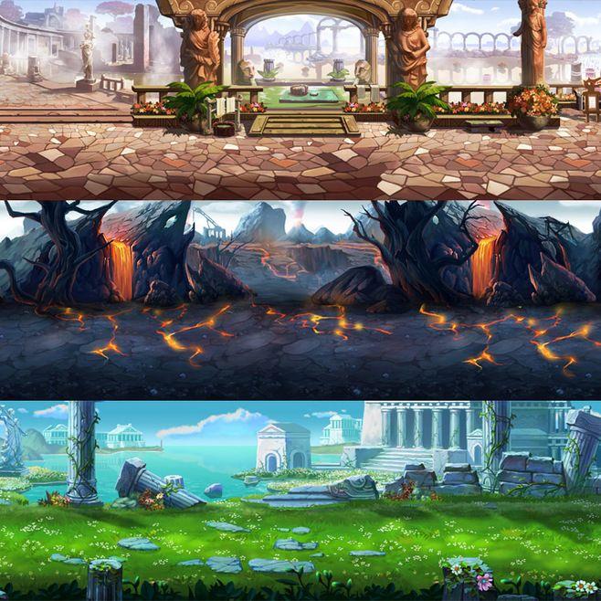 原画素材/实用场景资料/横版游戏背景设定...
