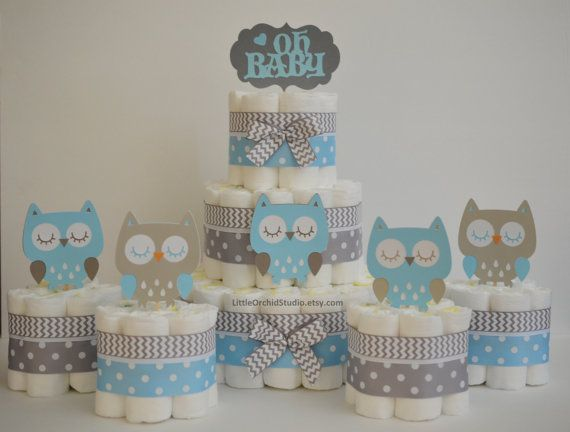 Owl baby shower/ blue grey diaper cake/ owl diaper cake/ oh baby shower/ gifts…