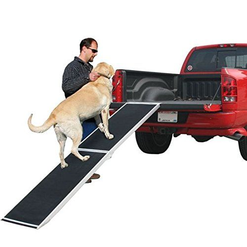 Pet loading ramp for trucks, vans, and SUV's. Lightweight, extra-wide, aluminum. Folds in half, has a carrying handle.