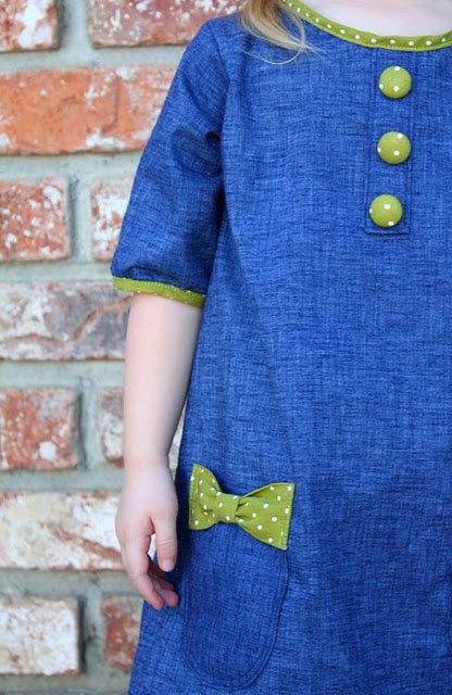 Denim little girl dress with contrasting cotton trim, buttons.  Can easily be adapted to make for an infant.