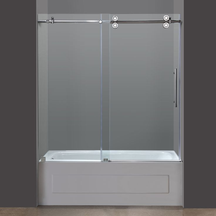 Add the crowning touch to the bathtub in your contemporary bathroom with this frameless tub door from Aston. The gorgeous chrome hardware and the modern four-wheel operational system blend perfectly w
