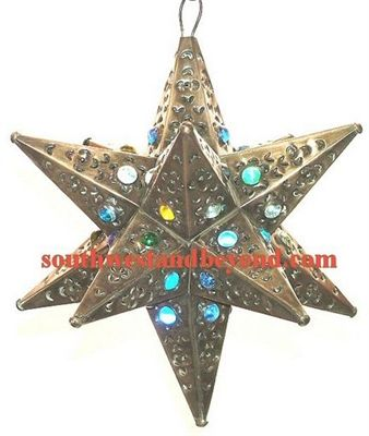 """33534-A 12"""" Mexican Hanging Tin Star Light 12Pt Marbled Glass"""