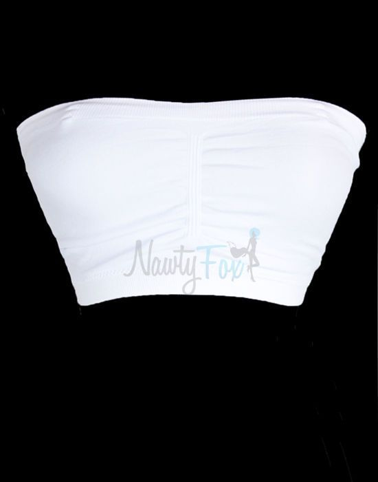 White Soft Seamless Tube Top Bandeau Bra With Padded Cup & Clear Straps O/S #NawtyFox #StraplessMultiwayBras (I could easily convert this bra into a nursing bra. There is a little pocket where you can insert/remove the padding, and I could cut boob-sized holes in the inner lining.)