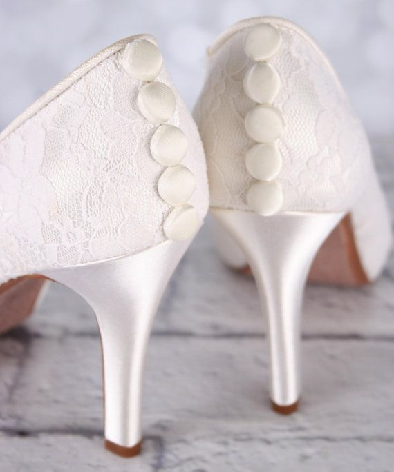 Ivory Wedding Shoes Lace Bridal Custom Simple Shoe