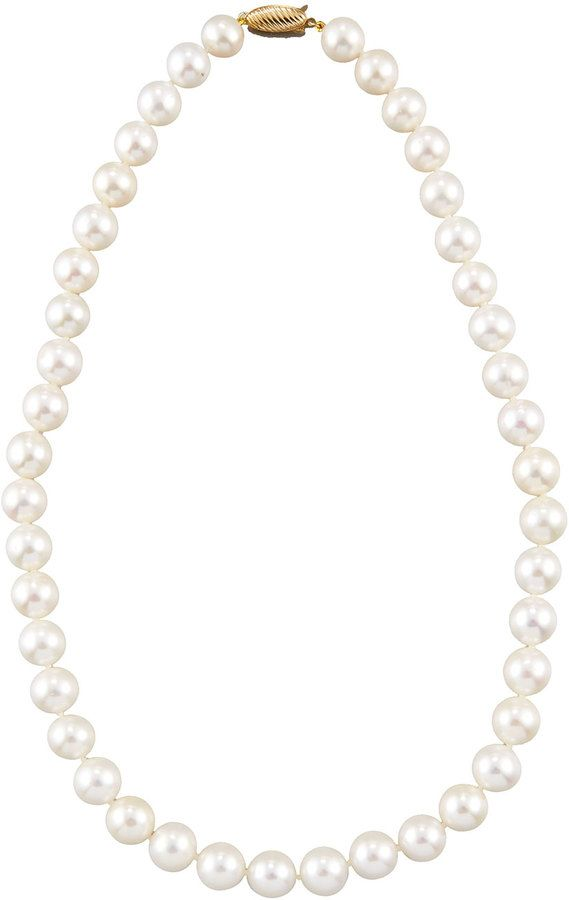 Belpearl 14k White Freshwater Pearl Necklace, 10-11mm