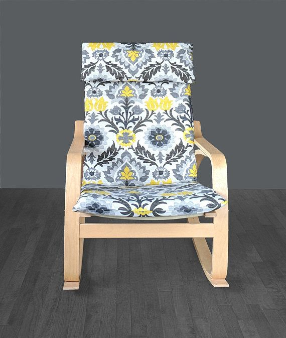 Yellow Gray Flower Ikea Chair Cover Ikea Poang Cushion Slipcover