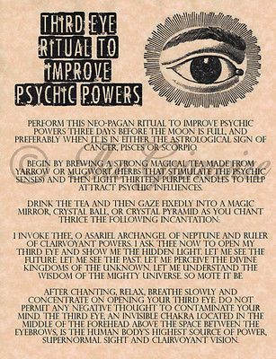 3rd Eye Ritual To Improve Psychic Powers, Real Witchcraft Spell Book Of Shadows