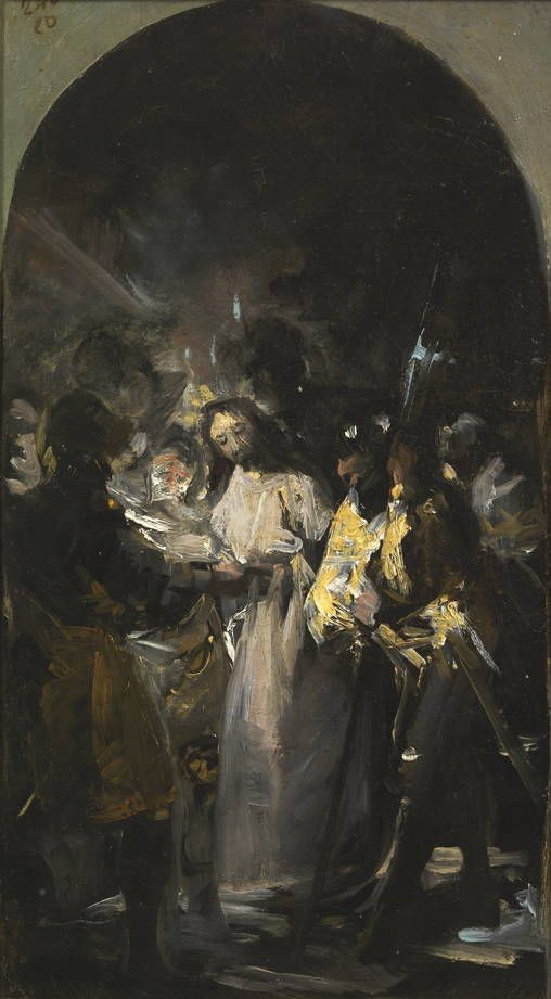 "Francisco de Goya: ""El prendimiento de Cristo"" (sketch). Oil on canvas, 40,2 x 23,1 cm, 1798. Museo Nacional del Prado, Madrid, Spain"