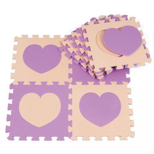30X30cm Kids Living Room Floor Mat Playmats Children Jigsaw Puzzle Mat - Beige & Purple Heat Shape (20)