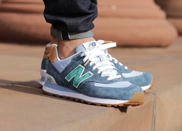 new balance 574 green suede fabric