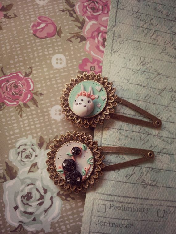 Pair Totoro Hairpin 3 different models por Ladyarcoiristienda