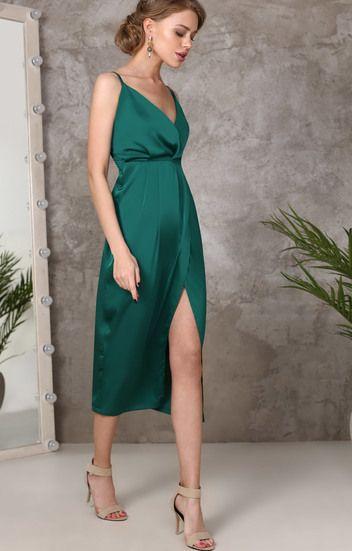 Изумрудное платье-комбинация на запах TOP20 studio / 2000000891743