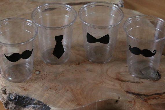24 10 oz. 12 oz. or 16 oz. clear party cups with  mustaches, tie, & Bow Ties. Mustache bash, little man, birthday party.  Vinyl B-138 on Etsy, $6.25
