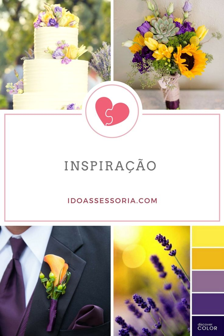Nossa Inspiração de hoje é a paleta com tons de amarelo e roxo.  Em breve teremos um lindo casamento feito por nós com essa paleta.   📷: Pinterest  #casamento #inspiração #wedding #paletadecores #amarelo #roxo #idoinspirações #dicasido