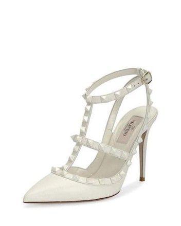c71df3e935 Valentino White Rockstud Ivory T Strap Wedding Pointed Heel Pumps Size EU  41 (Approx. US 11) Regular (M, B) - Tradesy